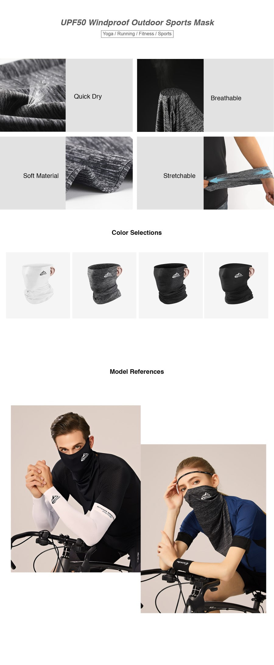 UPF50 Windproof Outdoor Sports Mask