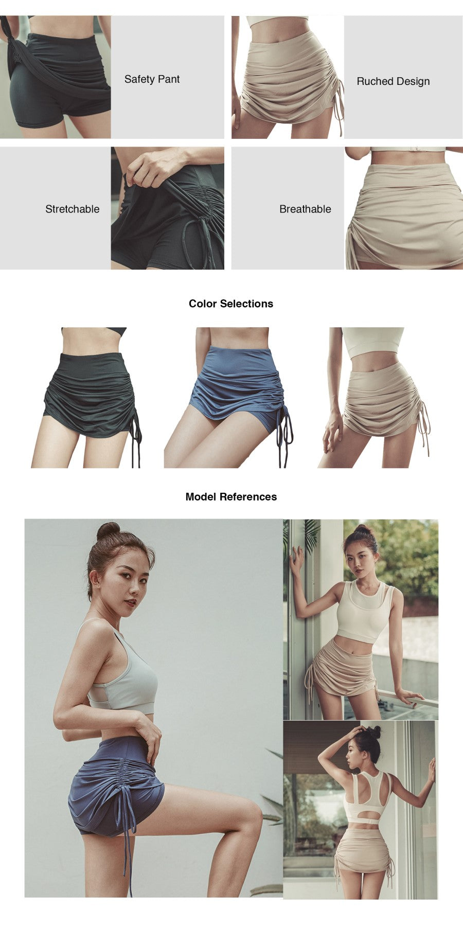 Ruched Side Tie Shorts