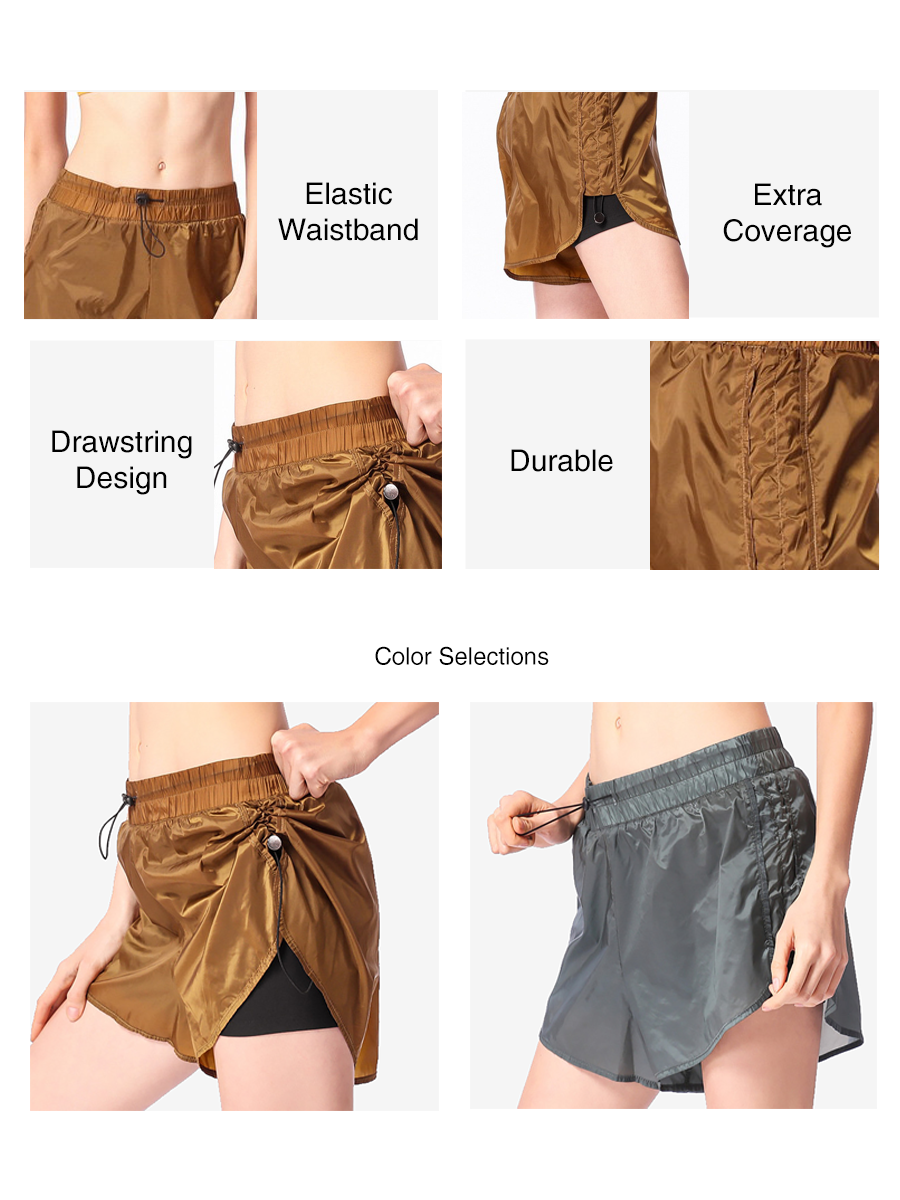 2 In 1 Side Drawstring Elastic Shorts