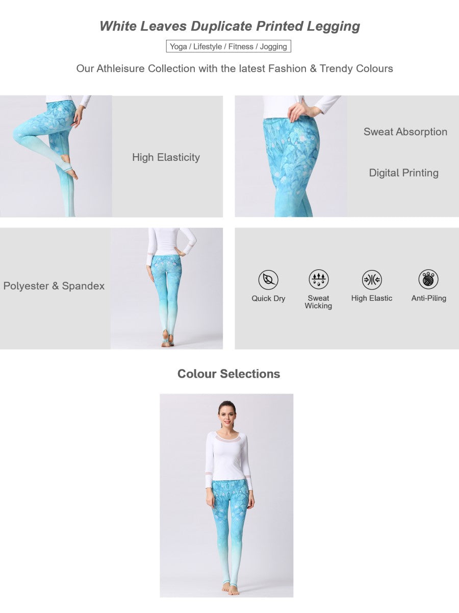 Skyblue Floral Print Cropped Legging