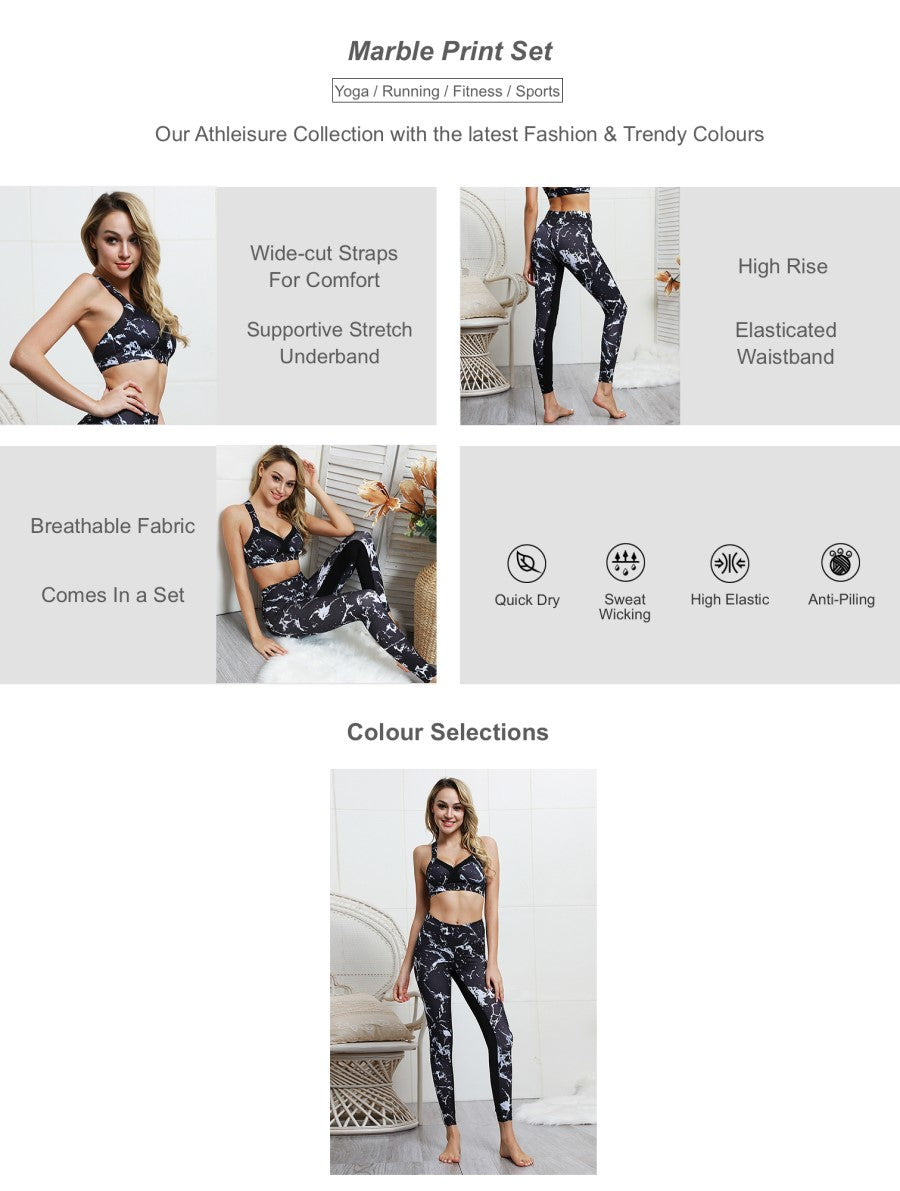 Marble Print Sports Bra & Legging Set