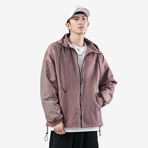Reflective Gradient Tone Hooded Jacket