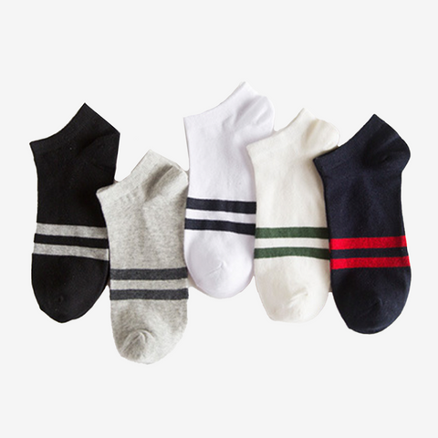 5 Pair Two Stripe Ankle Socks