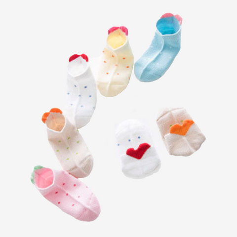 5 Pair Heart Back Children Socks