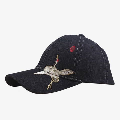 Crane Embroidery Adult Cap