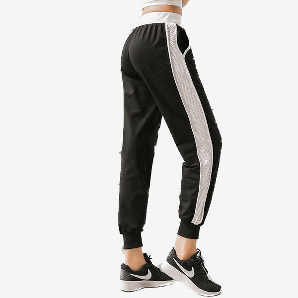Side Hollow Mesh Design Sweatpants