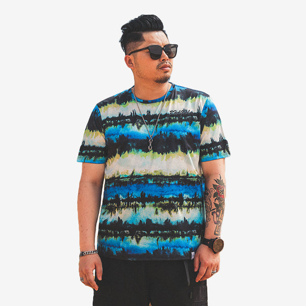 Plus Size Sharp Blue Tie Dye T-shirt