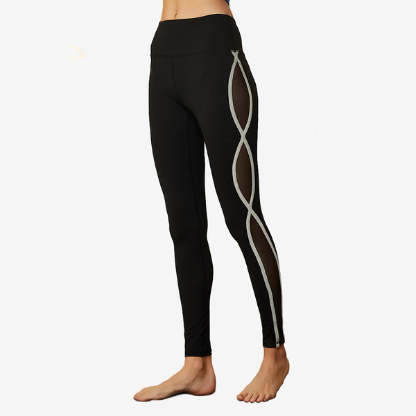 Curve Edging Mesh Panel Leggings