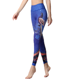 Blue Peacock Print Legging