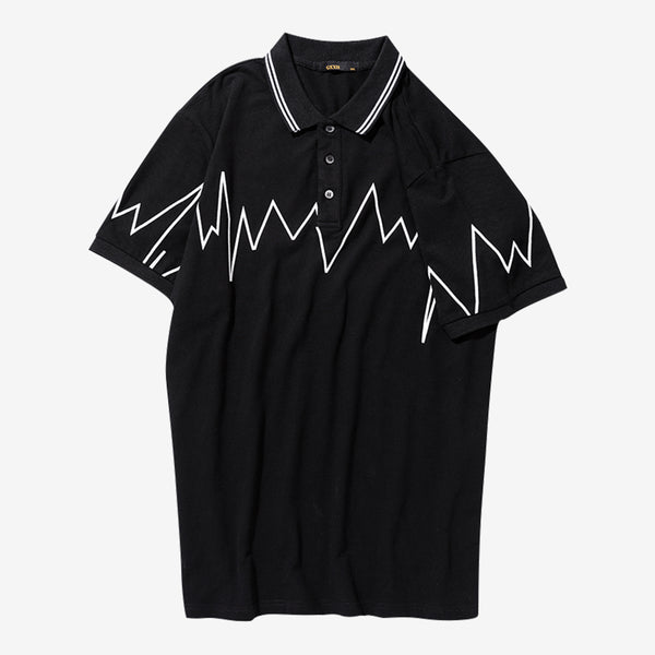 Strike Print Short Sleeve Polo Shirt