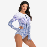 Rose Print Long Sleeves Fitness Swimsuit