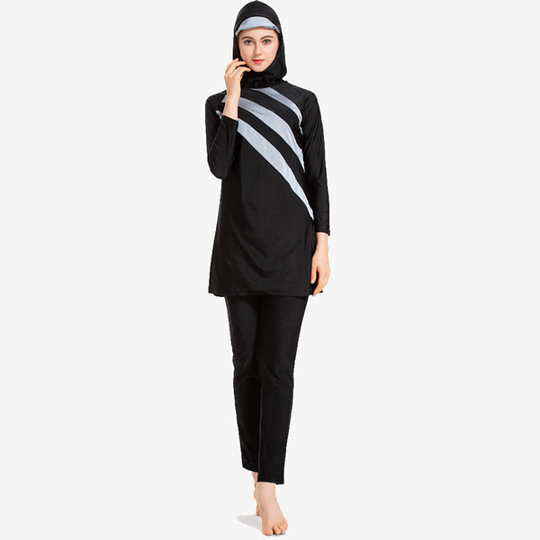 Stripe Modest Swimwear with Hijab Detachable