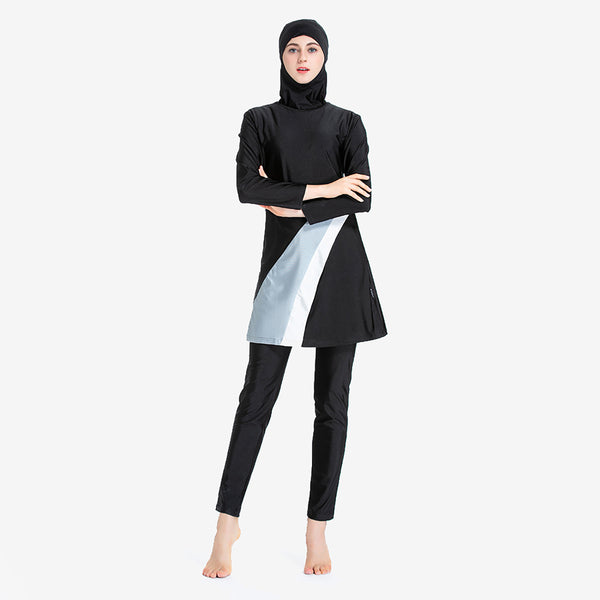 Contrast Colour Modest Swimwear with Hijab Detachable