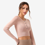 Front Button Long Sleeves Crop Top
