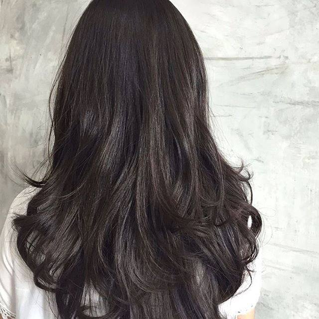 Dark Brown Halo Hair Extension Model