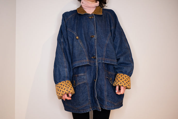Manteau en denim et paisley