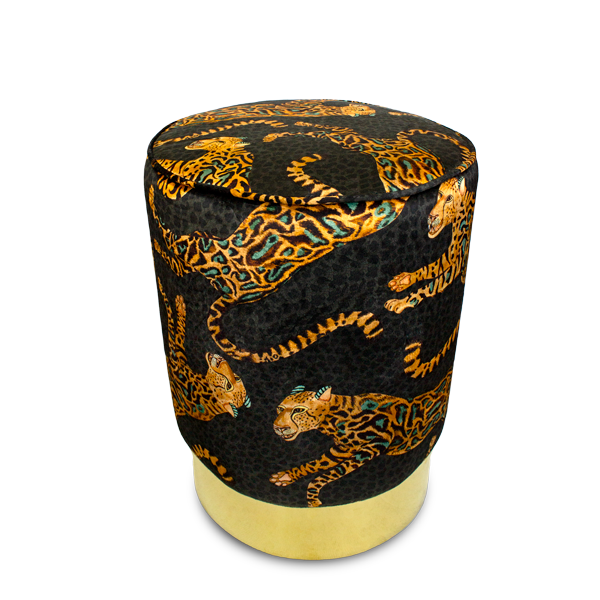 Cheetah Kings Amber Velvet Pouffe