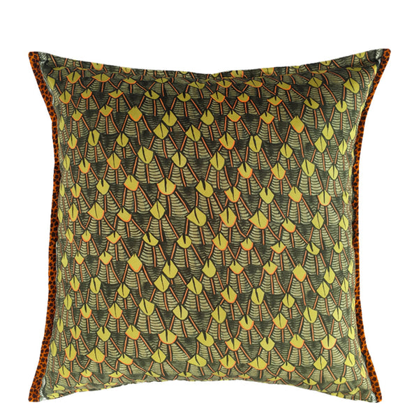 Feather River Green Velvet Cushion Cover