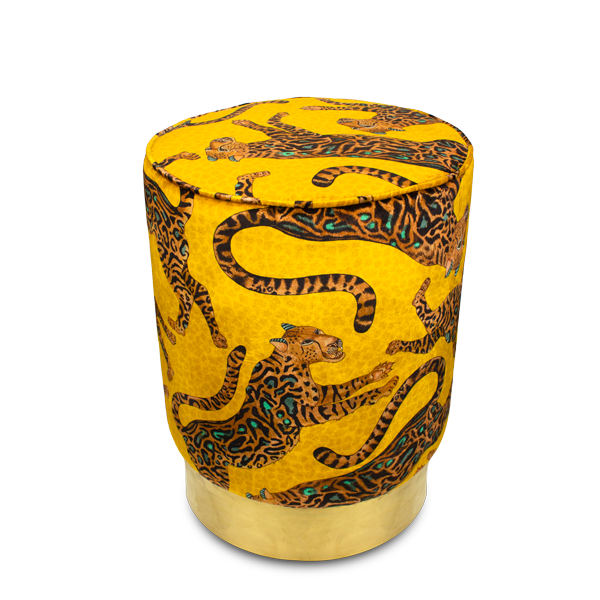 Cheetah Kings Gold Velvet Pouffe