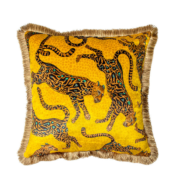 Cheetah Kings Gold Velvet Cushion Cover with Fringe