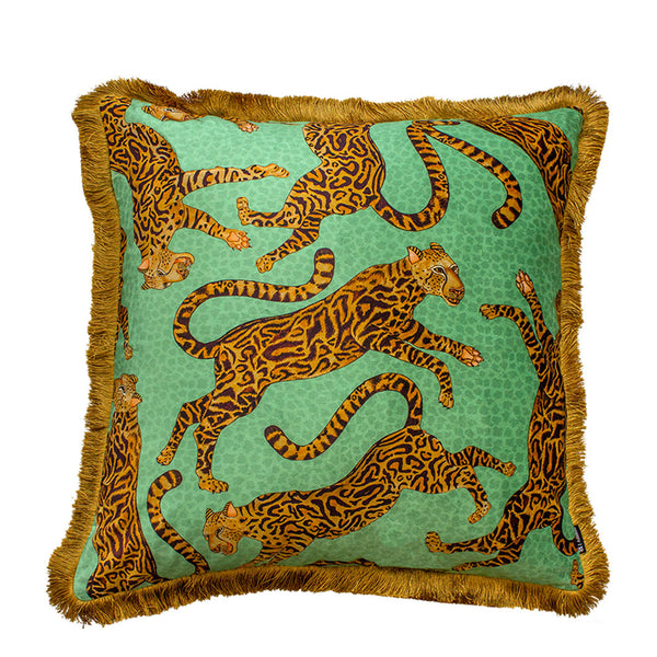 Cheetah Kings Jade Velvet Cushion Cover with Fringe