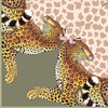 Set of Two Leopard Lily Napkins in Stone