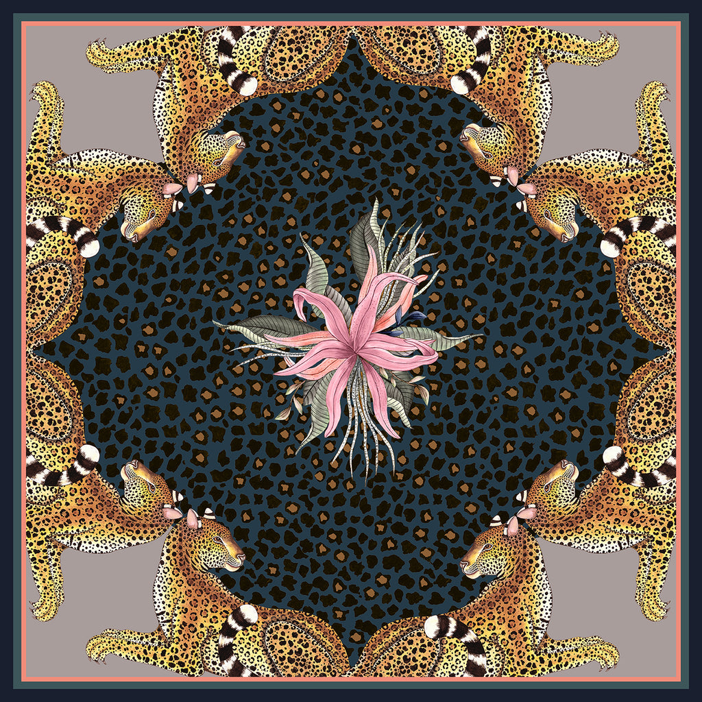 Set of Two Leopard Lily Napkins in Starry Night