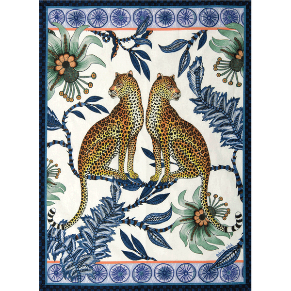 Lovebird Leopard Tanzanite Tea Towel