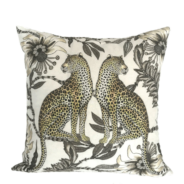 Lovebird Leopards Stone Cushion Cover