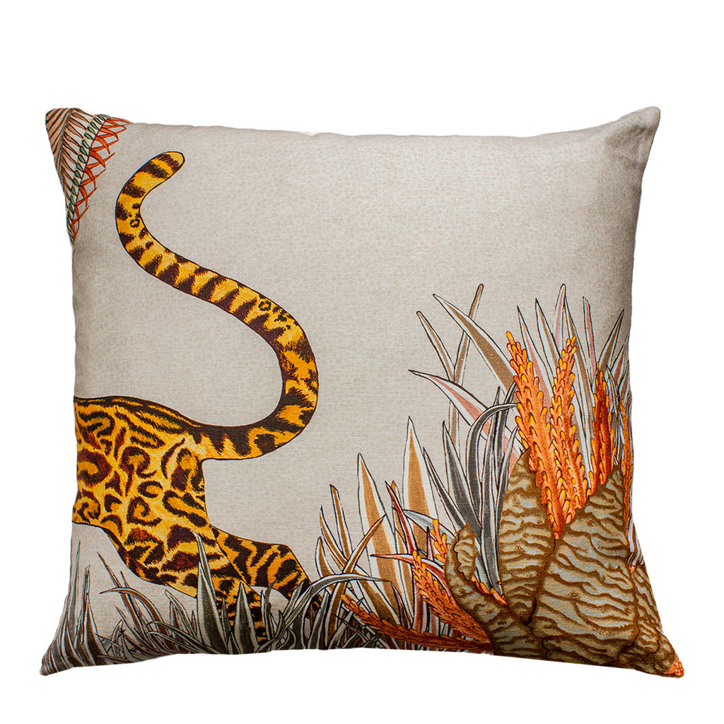 Cheetah Kings Forest Magnolia Cotton Cushion Cover
