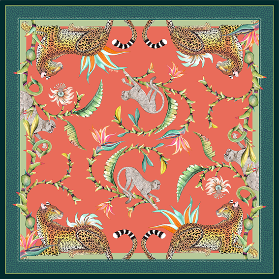 Monkey Paradise Square Tablecloth in Coral