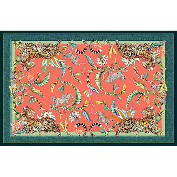 Monkey Paradise Tablecloth in Coral