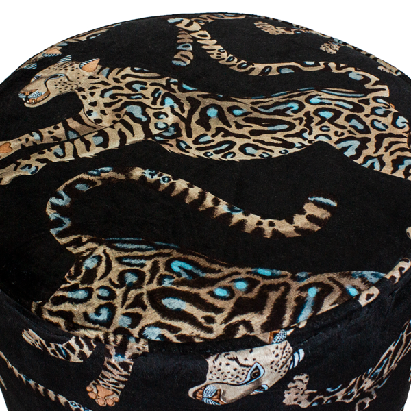 Cheetah Kings Starry Nights Velvet Pouffe