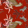 Leopard Lily Tablecloth in Royal Red