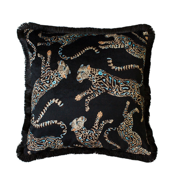 Cheetah Kings Starry Nights Velvet Cushion Cover with Fringe