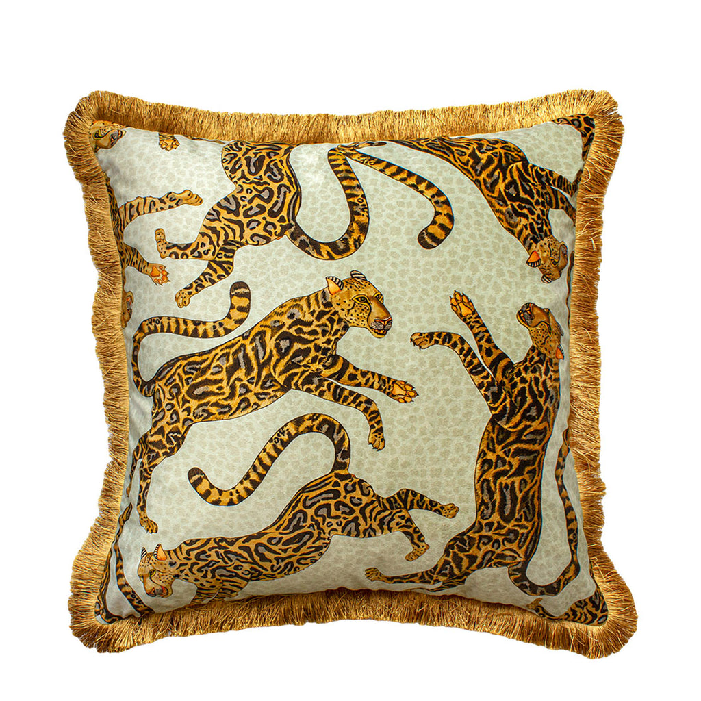 Cheetah Kings Stone Velvet Cushion Cover with Fringe
