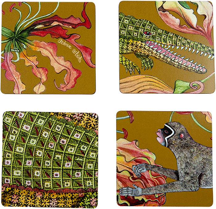 Set of Four Flame Lily Swamp Coaster