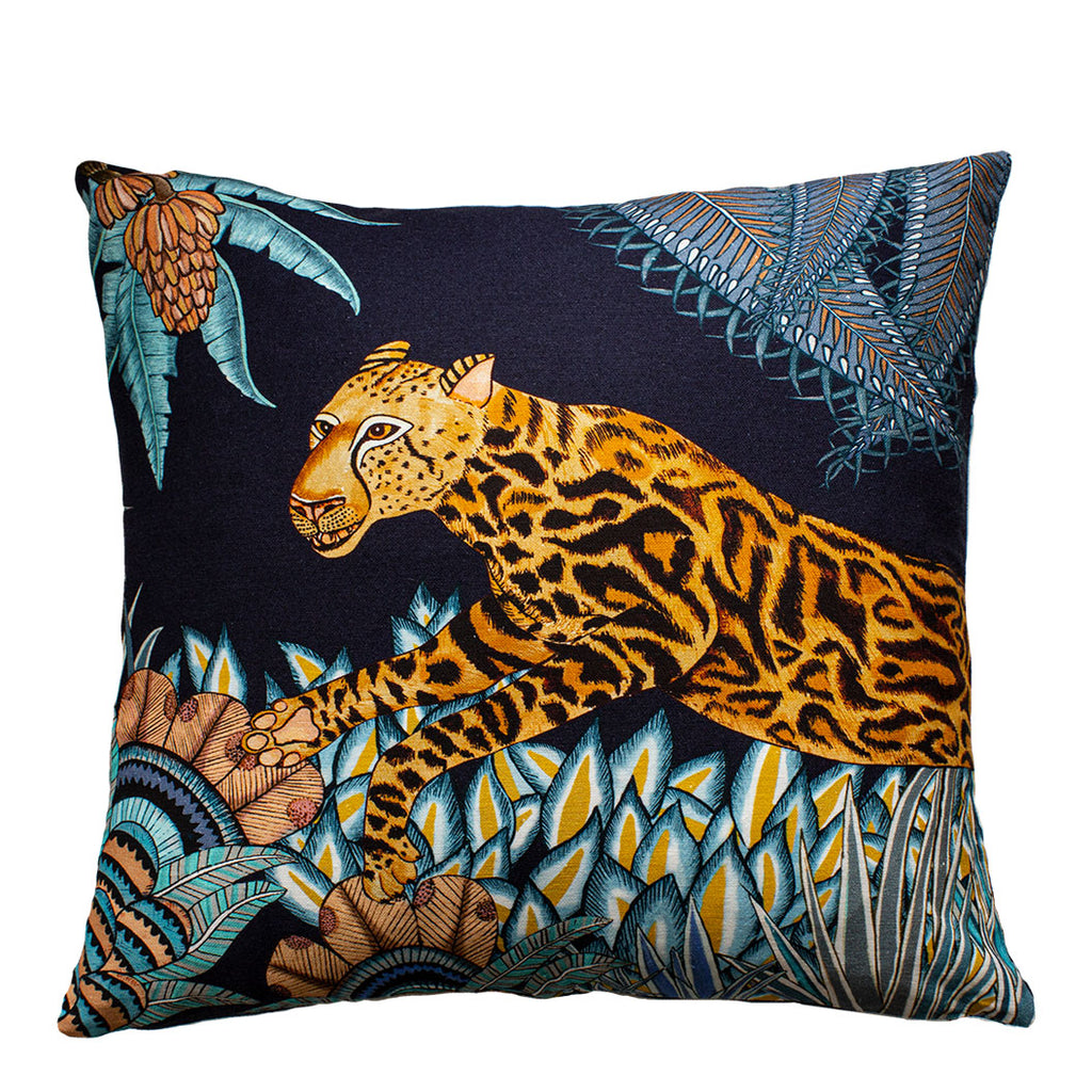 Cheetah Kings Forest Tanzanite Cotton Cushion Cover