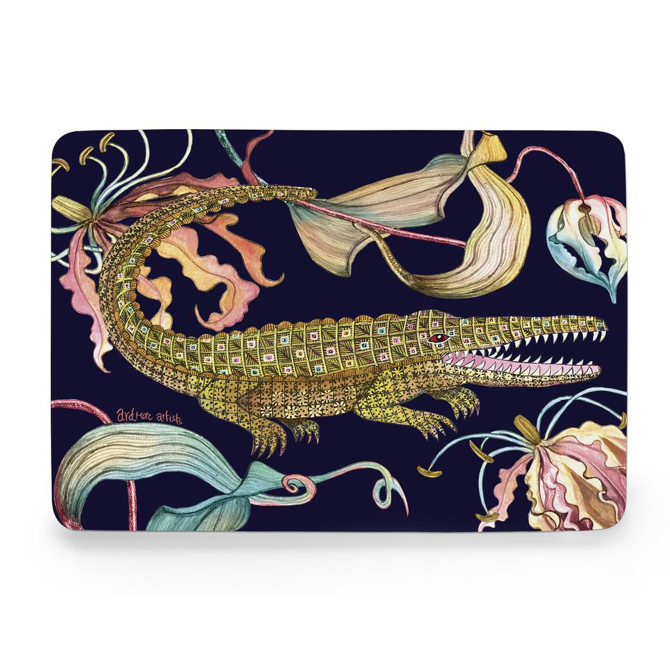 Set of Two Flame Lily Crocodile Moonlight Hard Board Placemats