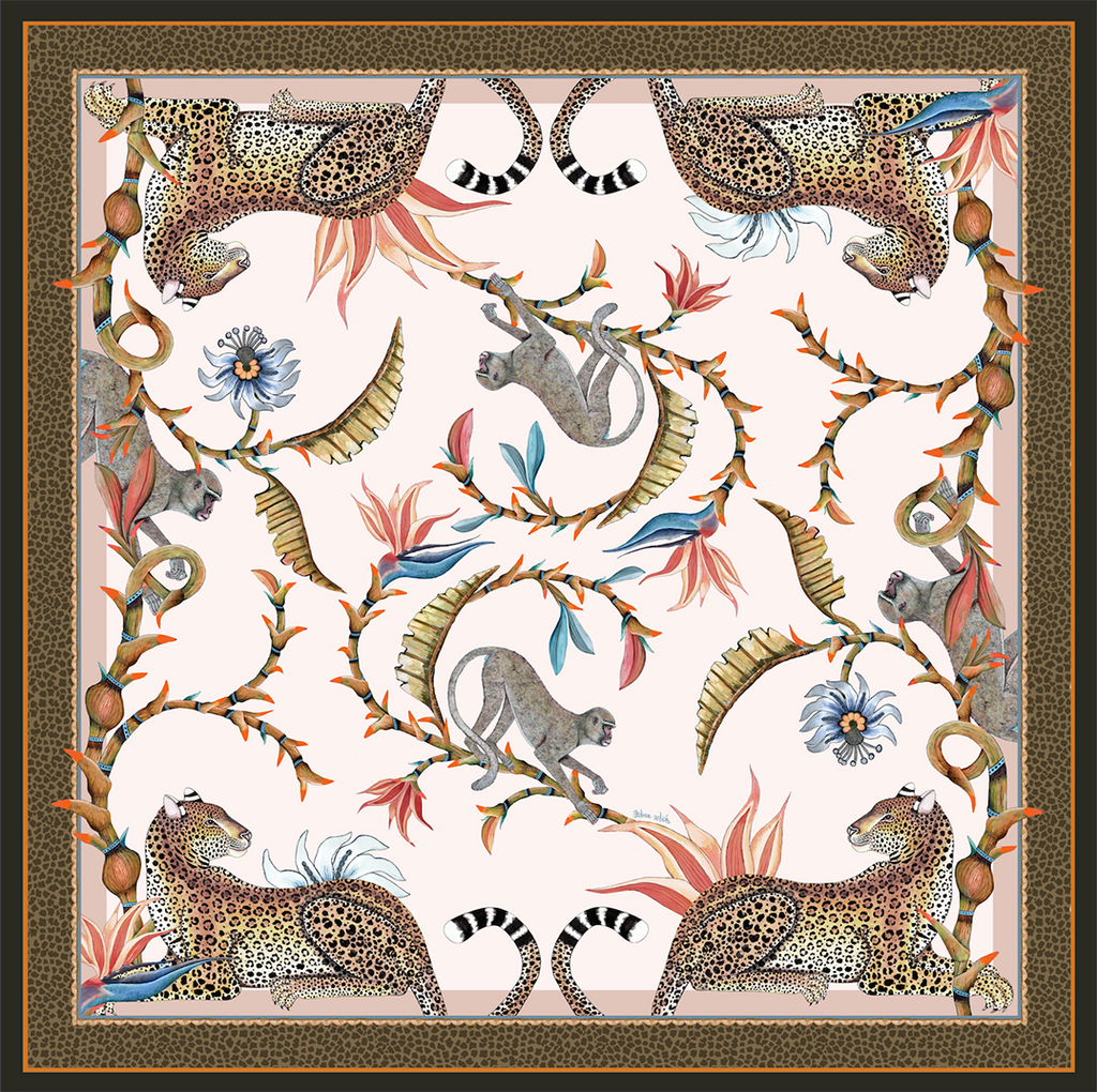 Monkey Paradise Square Tablecloth in Sandstone