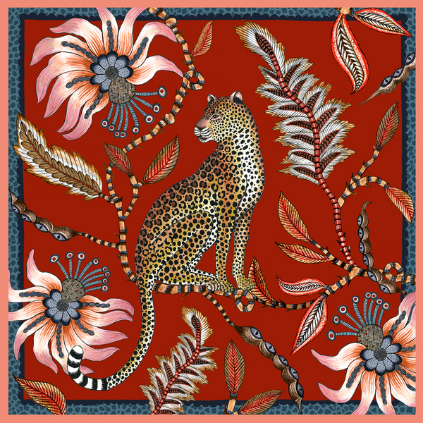 Set of Two Leopard Napkins in Royal Red