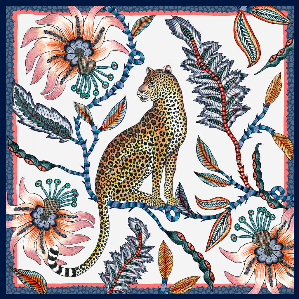 Set of Two Leopard Napkins in Frost