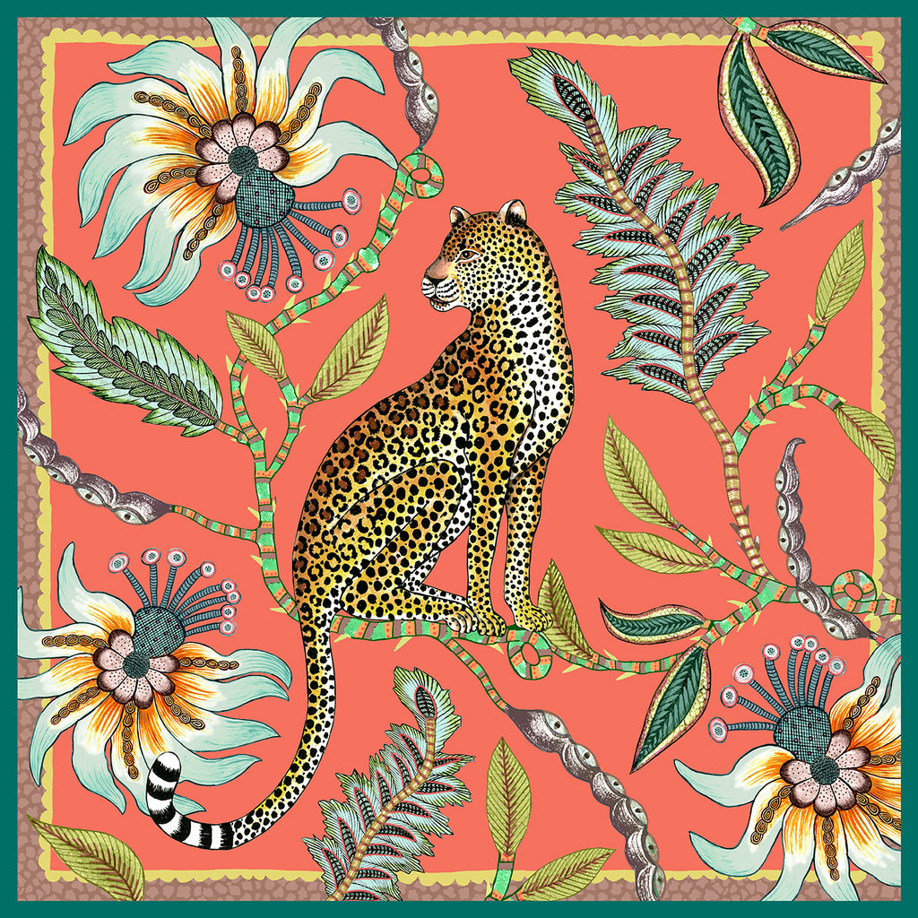 Set of Two Leopard Napkins In Coral