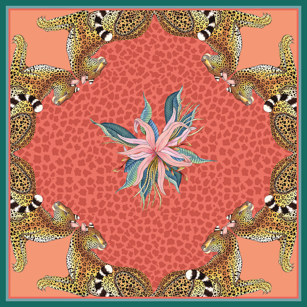 Set of Two Leopard Lily Napkins in Coral