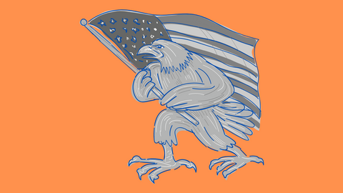 Eagle carries American Flag drawing