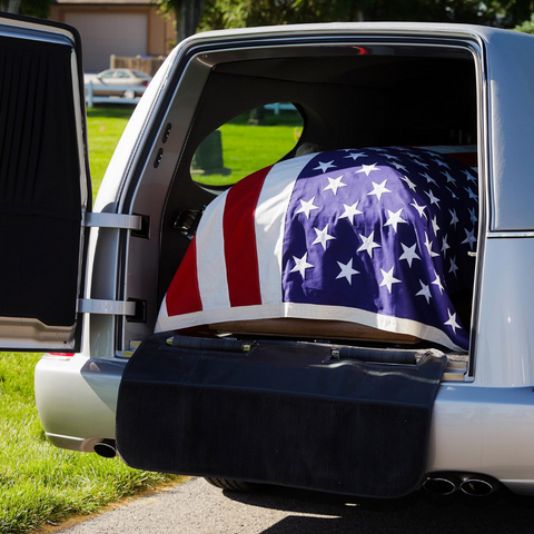 American Flag draped on casket