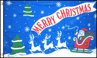 Merry Christmas Sleigh Ride Flag