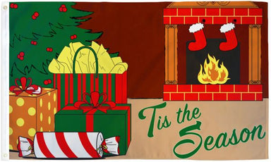 Tis The Season Fireplace Flag
