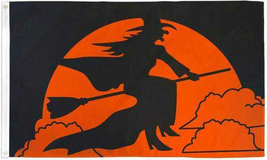 Witch Riding Her Broom Flag Polyester | Flag Store
