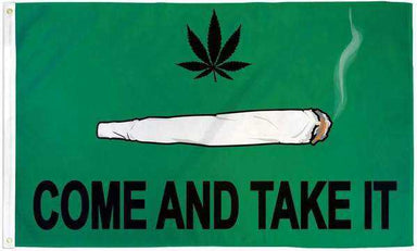 Come and Take It Marijuana Blunt Flag Polyester